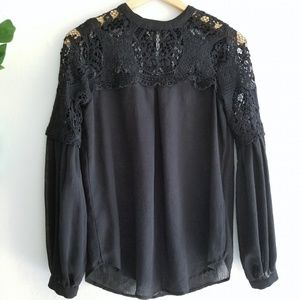 Victorian Black Lace Long Sleeve High Neck Top